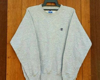 Rare!! CHAMPION sweatshirt pullover jumper crew neck  small logo embroidery nice design grey colour large size