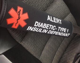 Medical alert SEAT BELT COVER, medic alert, vinyl, car accessories, doctor, car, safety, emergency, car, type 1 diabetes, autism, medical id