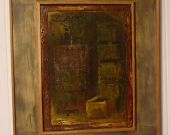 Industrial painting, oil painting, Detroit artist, Cass Coridor, 1980s Art, oil on canvas