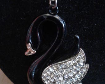 Black Swan Pendant on Very Long Chain