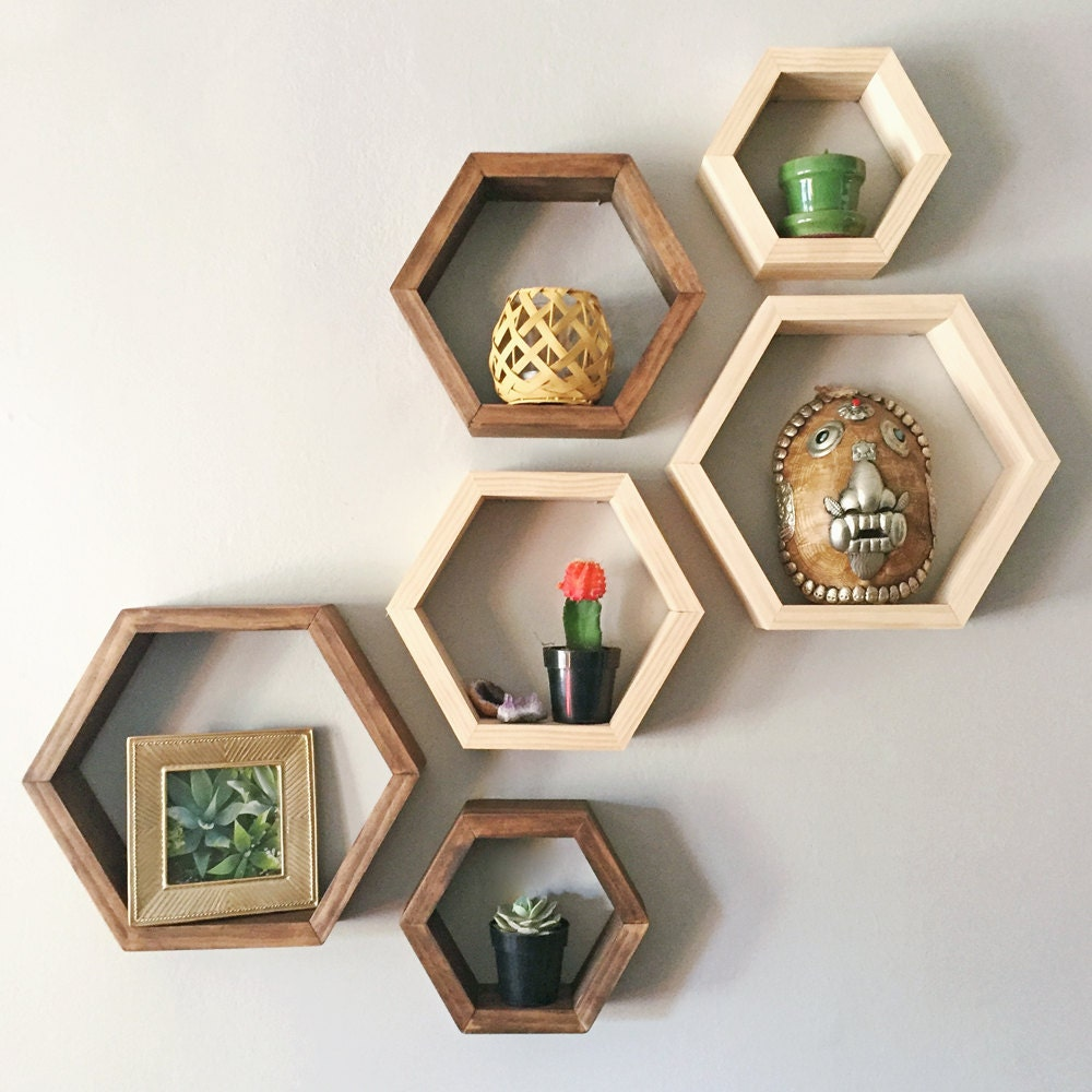 set of 3 hexagon shelves. Black Bedroom Furniture Sets. Home Design Ideas