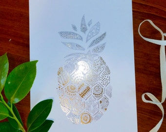 Wall Art Print featuring intricate hand drawn Pineapple with real Gold Foil
