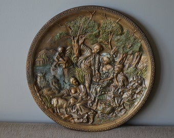 Vintage Sculpted Decorative Plate - Country Setting