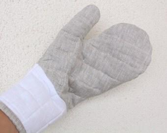 Oven mitt, Linen oven mit, modern linen oven gloves,  linens for kitchen