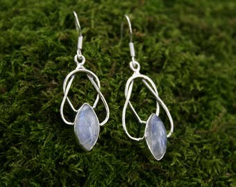 Sterling Silver Knotted Moonstone Drop Earrings