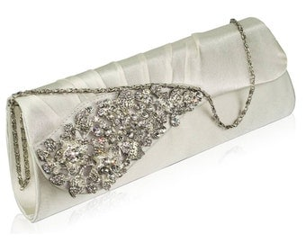 Rectangular Ivory Ruched Satin Clutch With Crystal Flower - Bridal/Prom BAG43