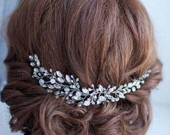 Crystal and Bead Bridal Flower Hair Piece