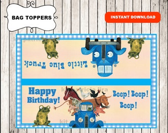 Little Blue Truck bags toppers instant download , Little Blue Truck treat bags toppers, Printable Little Blue Truck party bags toppers