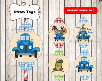 Little Blue Truck Straw tags instant download , Little Blue Truck Straw tags, Little Blue Truck party straw tags