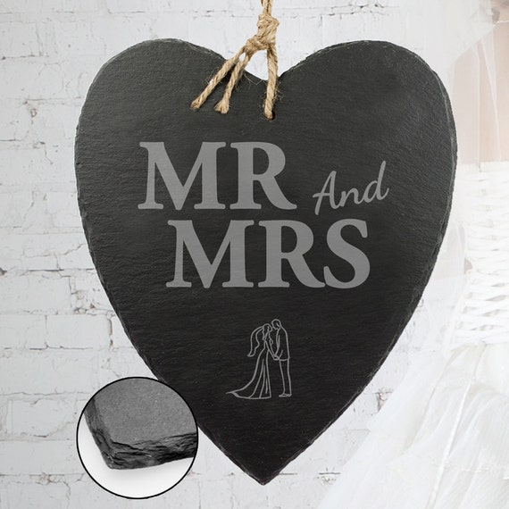 Slate Heart - Beautifully Engraved - Mr. And Mrs. - Door Sign With Jute Hanger - Wedding Gift