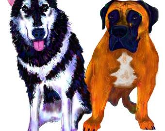 Colorful Custom Two Pet Portrait- DIGITAL
