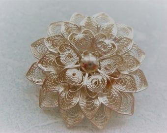 Vintage Filigree Flower Brooch