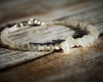 Moonstone Beaded Bracelet, June Moonstone Bracelet, Sterling Silver Bracelet, June Birthstone Bracelet, June Birthstone, Stackable Bracelet