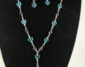 Blue Hearts and Black Skulls Extra Long Necklace and Earrings Set