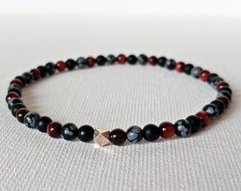 Red Tigers Eye Bracelet, Black Onyx Bracelet, Snowflake Obsidian, Chakra Bracelet, Mens Bracelet, Mens Boho Jewelry, Healing Gemstone