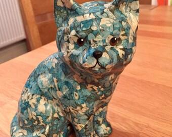 Blue 1980's Decoupage Cat