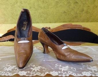 Brown Leather Shoes, antique shoes, Edwardian shoes, antique pumps, ca. 1910