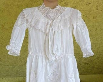 1902 Edwardian Girls Dress, antique Dress, children's dress, antique gown