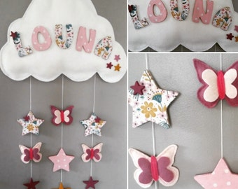 Mobile baby name butterflies nursery decor