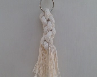 Macrame knot keyring made with 100% cotton
