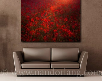 Poppy field (Red Summer Sunset Flower Wrapped Canvas Giclée Print Ready To Hang Wall Decor Fine Art)