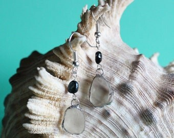 Frosted Sea Glass and Navy Fresh Water Pearl Drop Earrings