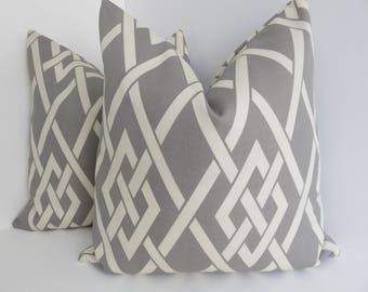 Outdoor/Indoor Pillow Covers- Grey white Outdoor Pillows- outdoor Pillow Covers- Outdoor Living - Pillows- Pillow Cover- Grey Outdoor Pillow