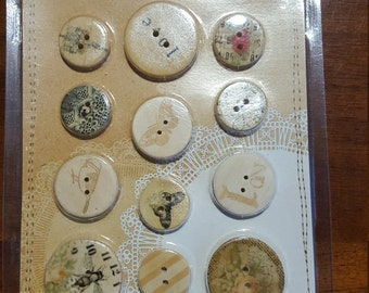 B55 -  Lyric Collection - Wood Buttons - 12 Pieces -