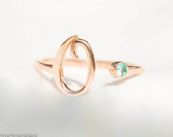 Initial Ring Rose Gold - Initial Jewelry - Personalized Ring For Women - Unique Bridesmaid Gifts - Personalized Birthstone Jewelry