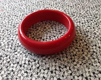 Vintage Red Lucite Bangle Bracelet, Mid Century