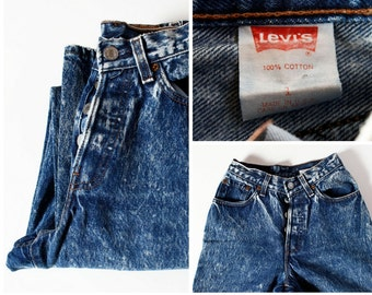 Vintage Women's Levis Jeans Distressed Stonewashed 80s - Made in USA 80's Size 1 Small Extra Small
