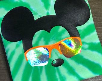 Disney Shirt, Mickey,  Icon, Mouse, Head, Ears, sunglasses, Oakley, Glitter, Sparkle, Trip, Vacation, Kids, Mens, Ladies, Womens Plus Size