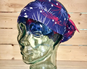 Scrub hats / Scrub caps / Scrub caps for women / Ponytail / fireworks / 4th of July / scrub hat for women / nurses cap / navy, red, silver