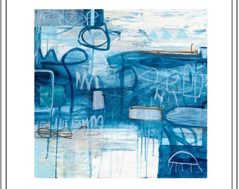 "Blue, navy and white abstract print with brown graffiti. Giclee print of painting by Elizabeth Primmer ""Graffiti in Ocean Blue"""