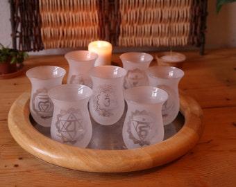 Tea glass set with chakras