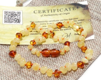 Baltic Amber POLISHED Rounded Beads Teething Necklace For Babies - Cognac Butter Color - Amber Teething Necklace - With Certificate