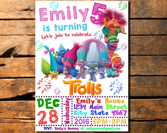 Trolls Birthday Invitation, Trolls Invitation, Trolls Invite, Troll Invitation, Trolls Party Invitation, Trolls Invitation with Photo, Troll
