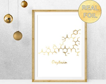 Real Gold Foil Oxytocin Molecule Art Print - Poster