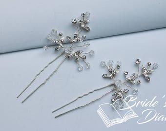 1pcs Bridal hair pins, rhinestones hair pins, silver color hair pins