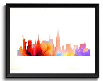 NY Skyline Art- New York Watercolor Art, New York Art Print, New York Artwork, NY Art Print, NY Watercolor Art, Rainbow City Art,