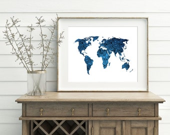 Blue and White Map - Blue World Map Printable 10x8 7x5 Home Decor Map Decor Modern World Map Wall Art - Continent Silhouette Print