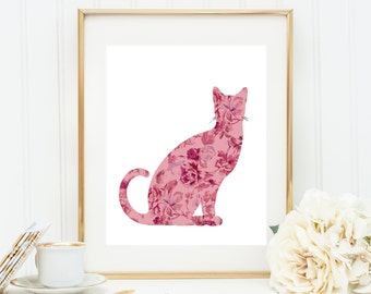 Cat Lovers Gifts, Regalos Para Gatos, Gifts for Cats, Cat Wall Art, Cat Wall Hanging, Printable Cat Art, Vintage Floral Cat, Vintage Kitty