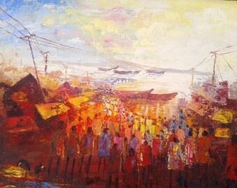Crowd at Lake Victoria market