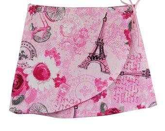 Girls wrap skirt, Paris pink