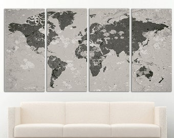World Map Canvas Print Wall Art decor World Map Wall Decor World Map Print World Map Art Travel Map Canvas