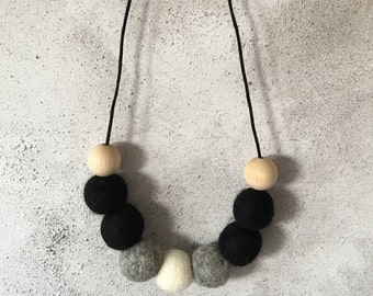 Felt ball necklace, Monochrome, Pom pom necklace, Birthday Gift, Woolie Ball necklace, Jewellery, Gift for her, Evening Wear, Wool necklace