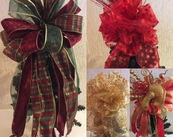 Christmas tree topper bow, Tree topper, Christmas bow