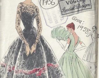 1958 Vintage VOGUE Sewing Pattern B34 DRESS (1756)