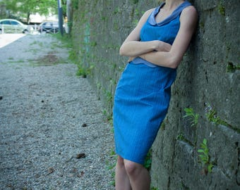 dress tight blue vintage pinup