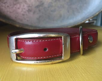 Medium breed Leather dog collar, handmade dog collar, handcrafted dog collar,  custom dog collar.